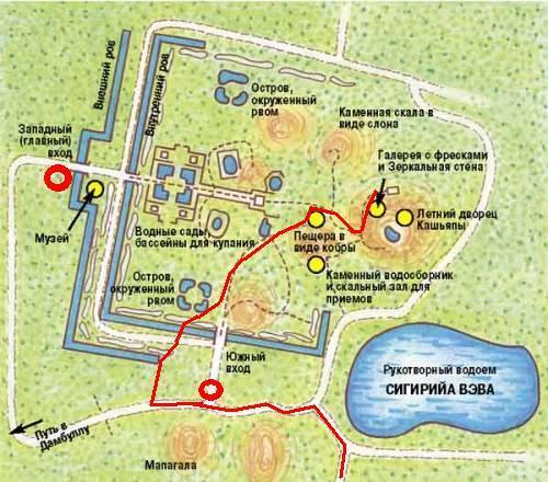 сигирия карта крепости