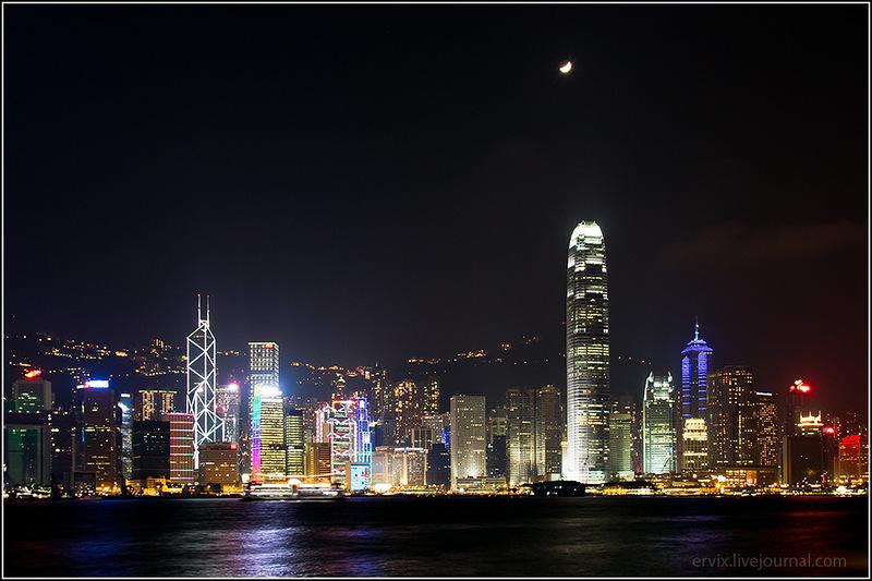 Ночной Гонконг Китай