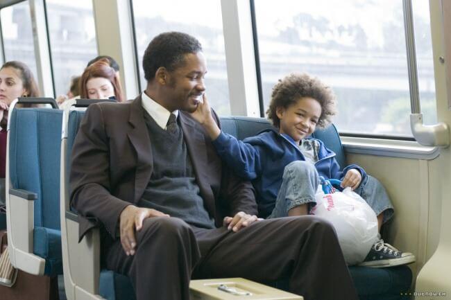 отец с сыном в автобусе