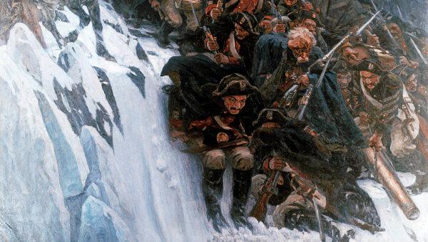 суриков фрагмент переход через альпы