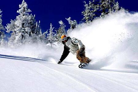 сноубординг в лесу