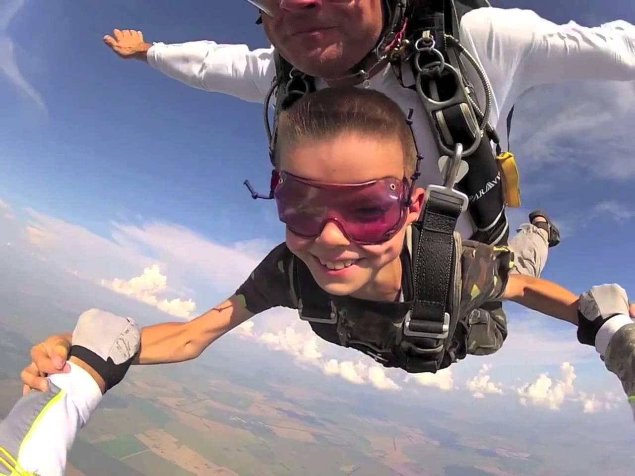 лицо во время прыжка с парашютом